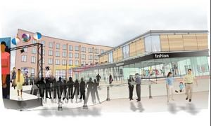 Artists impression street scene with building