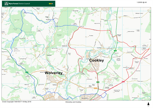 Crown Copyright image of map showing Wolverley and Cookley ward boundaries